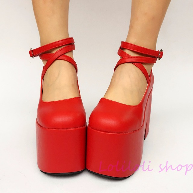 d182560a34e1c Princess sweet lolita shoes Lolita Japanese design customized special  shaped red matte buckle tie high heel platform shoes 1275a