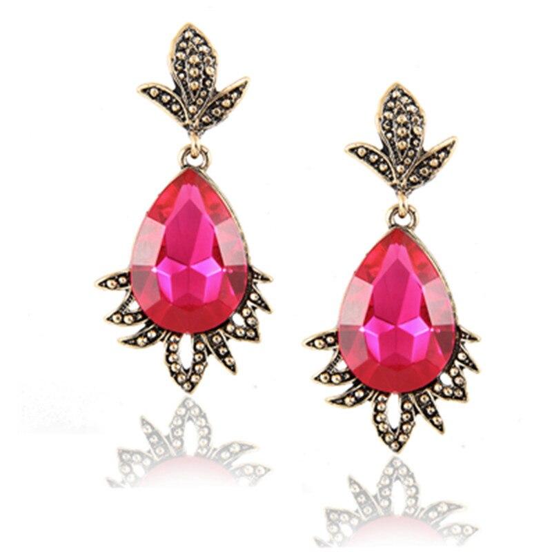 E041 Vintage Red Crystal Rhinestone Drop Earrings For Women Fashion Leaf Dangle Earrings Wedding Jewelry High Quality Wholesale