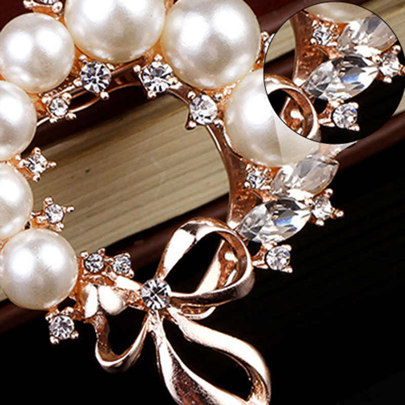 Kristal Pearl Bunga Bros Perhiasan Besar Rhinestones Syal Pin Bros untuk Wanita Pernikahan Bridal Logam Pin Lencana Bros A1450