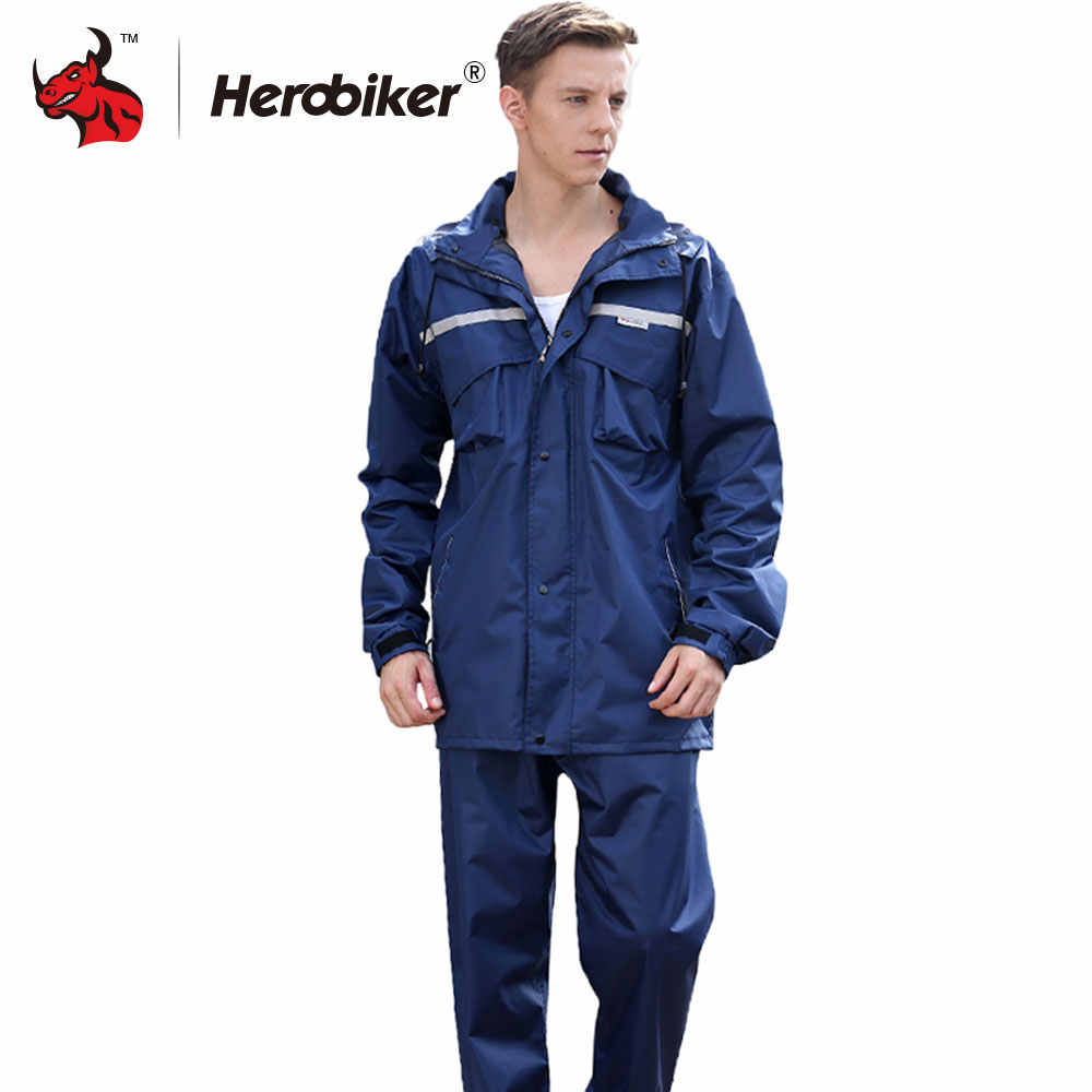 HEROBIKER Motorcycle Waterproof Rain Jacket Pants Suit Rainwear Men Motorcycle Rain Gear Impermeable Raincoat Moto Rainsuit