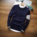 2016 Marca Casual homens Camisola Nova Moda Outono O-pescoço Slim Fit Knitting Camisolas Dos Homens E Pulôveres Homens Pullover alta qualidade