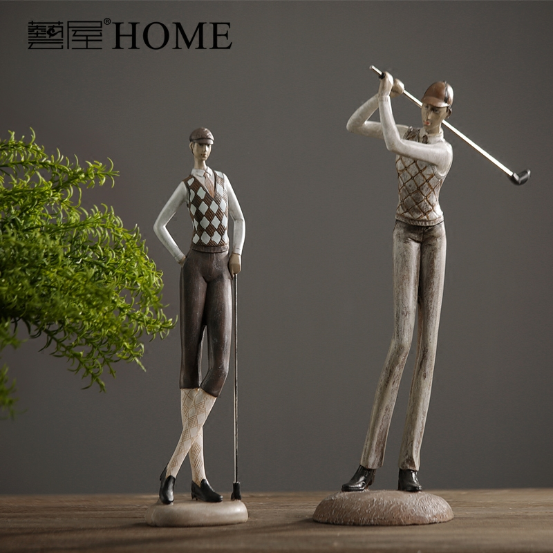 American rustic style retro resin Golf gentleman model nordic home dcor furnishing ornaments luxury decoration for new home