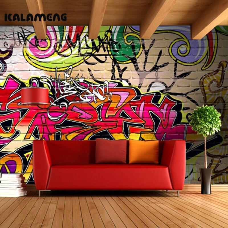 KALAMENG Custom 3D Wallpaper Design Hip Hop Graffiti Photo Kitchen Bedroom Living Room Wall Murals Papel De Parede Para Quarto custom mural wallpaper european graffiti art large wall painting papel de parede living room bedroom decorative wallpaper murals