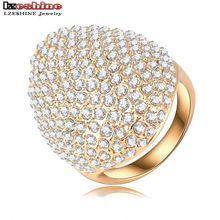 LZESHINE Custom Rings For Women Gold Plate Pave Full Rhinestone Austrian Crystals SWA Elements Party Ring Jewelry Ri-HQ0235-b