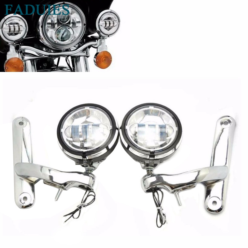 FADUIES 4 1/2 Black Chrome Led Auxiliary Lighting With Motorcycle 4.5 inch Fog Light Brackets For Motorcycle Street Glide