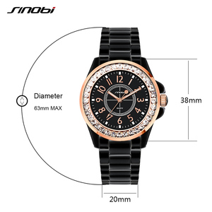 Image 3 - SINOBI Fashion Women Diamonds Wrist Watches Imitation Ceramics Watchband Top Luxury Brand Dress Ladies Geneva Quartz Clock 2020