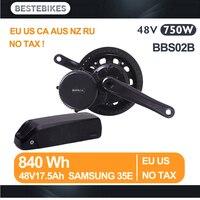 Bafang мотор BBS02B 48 В 750 Вт вело electrique bicicleta electrica электрический велосипед комплект 840WH/48v17. 5ah samsung 35E ЕС США нет налога