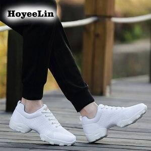 Image 4 - Hoyeelin 메쉬 재즈 신발 남자의 현대 소프트 outsole 댄스 스 니 커 즈 통기성 춤 피트 니스 훈련 신발