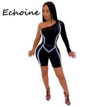 Echoine Bodycon tulum bir omuz yansıtıcı Bodysuit kısa Romper tulum kadınlar için parti gece bez