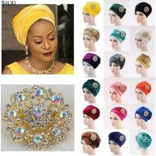 170*26 см женский роскошный плиссированный вельветовый тюрбан, длинный шарф, арабский хвост, шапка с ювелирной брошью, головной убор, модная шапка