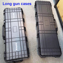 long Tool case gun case large toolbox Impact resistant sealed waterproof case equipment  camera gun case with pre-cut foam ip67 waterproof shockproof black compressive durable toolbox with full cubes foam inserts
