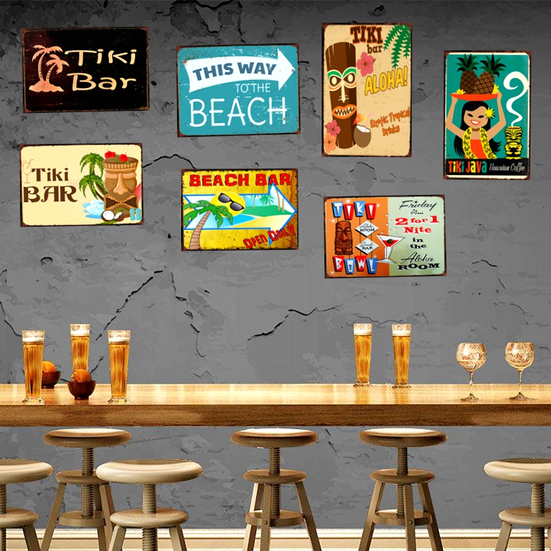 TiKi Bar Beer Tin Sign Beach Metal Plate Iron Painting Wall Bar Cafe Shop Home Art Craft Decor 30X20CM DU 1601 in Plaques Signs from Home Garden