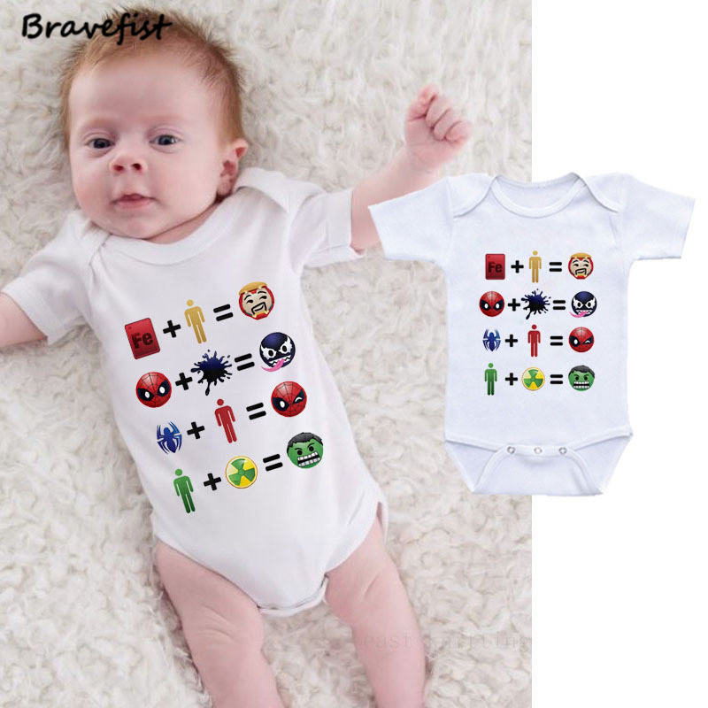 Toddler Baby Boys Bodysuit Short-Sleeve Onesie Creative Chain Print Rompers Summer Pajamas