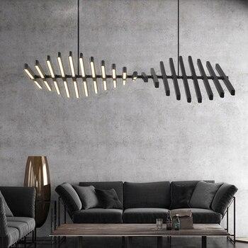 Nordic โครงกระดูกปลาโคมไฟระย้า Led การสร้างแบบจำลองหลากหลายอลูมิเนียมห้องรับประทานอาหารโคมไฟร...