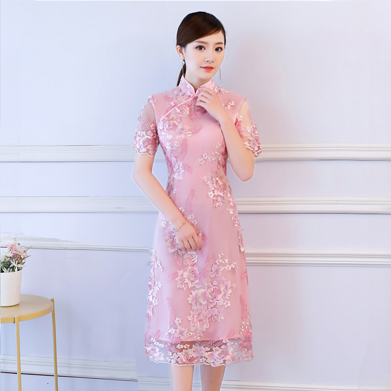 S 3XL Knee Length Cheongsam Vintage Chinese style Dress 2018 Fashion Womens Embroidery Qipao Slim Party