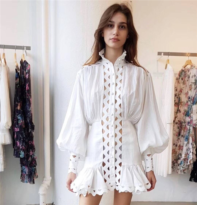 High Quality Spring 2019 Fashion New Arrival Dress Women Stand Lantern Sleeve Hollow Out Shirt Dress