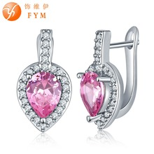 FYM Brand 7 Colors Sliver Plated Big Pink Crystals Zircon Earrings Micro Paved White CZ Hoop Earrings Luxury Jewelry women fym brand 7 colors sliver plated big pink crystals zircon earrings micro paved white cz hoop earrings luxury jewelry women