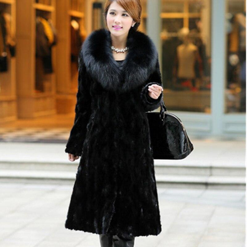 Femmes Black 8xl Fur Parkas Long Vison Manteau Collar Taille Tops De Chaud Manteaux Imitation La Costume Plus Coat2019 Fourrure Noir gray Col Renard Hiver Nouvelle Collar E1ZWq