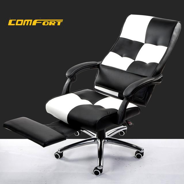 Cavert giratória de couro elevador de cadeira de escritório em casa cadeira do computador ergonômico cadeira reclinável