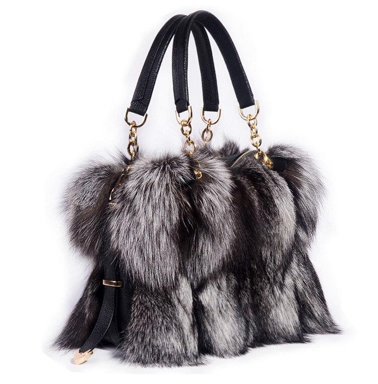 100 Real Fur Women Handbags Real Silver Fox Fur Messenger Bags Female Real Fur Purse Envelope