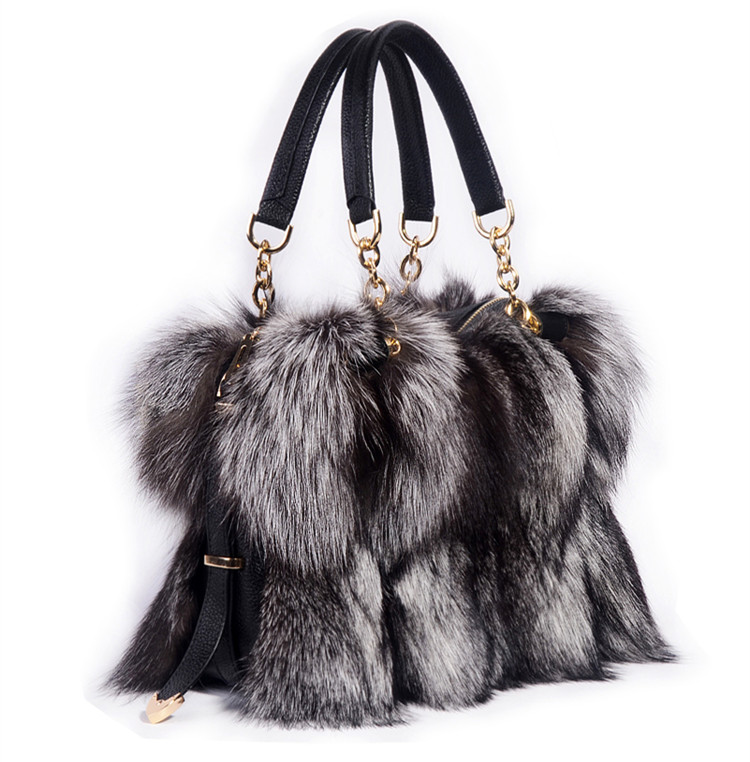 100% Real Fur Women Handbags Real Silver Fox Fur Messenger Bags Female Real Fur Purse Envelope Bag Real Leather Evening Bag ellacey women bucket bags fox fur genuine leather handbags fur women bag socialite basket real leather small christmas tote bag