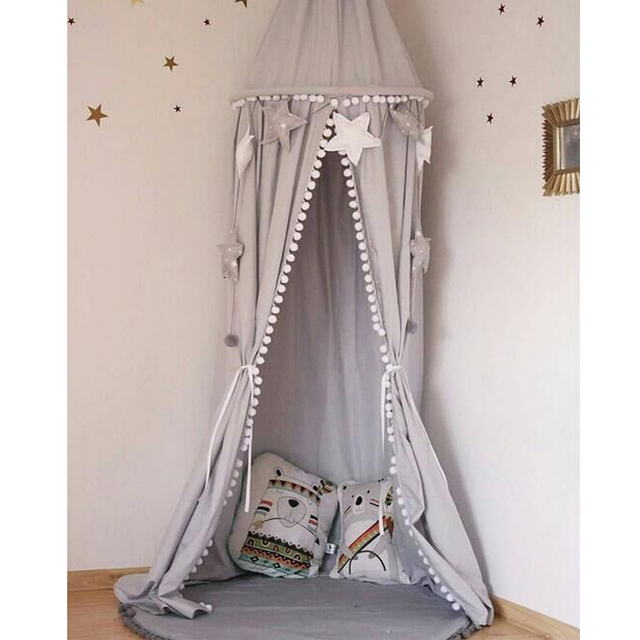 51a95788840f6 الأطفال غرفة الديكور معلقة قبة سرير الستارة خيمة سرير بيبي كرات البعوض صافي  خيمة اللعب شنقا