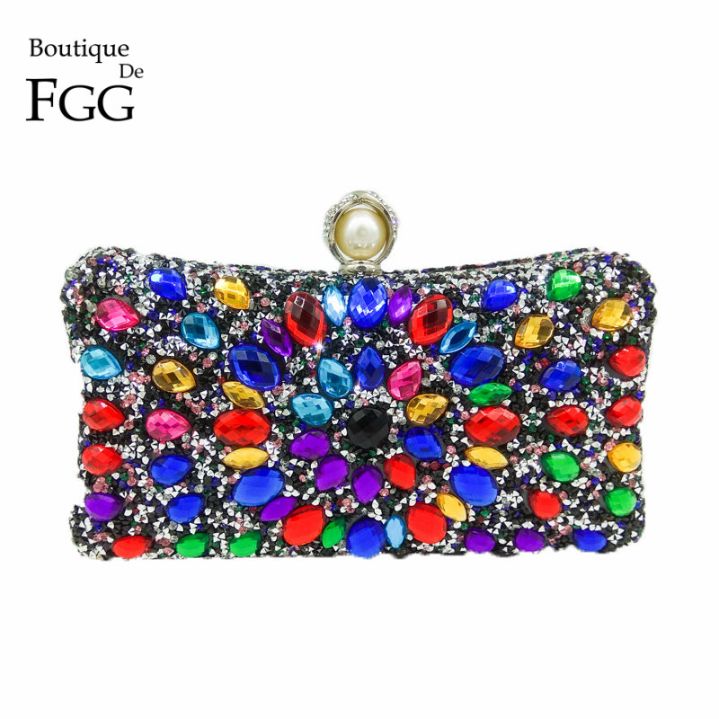 Boutique De FGG Multi Color Crystal Women Pearl Beaded Black Evening Metal Clutches Bag Wedding Party Prom Bridal Handbag Purse luxury crystal clutch handbag women evening bag wedding party purses banquet