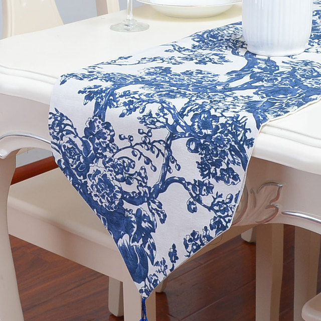 Blue And White Chinese Porcelain Table Runner Cotton Linen Festival Party  Decoration Wedding Table Cloth 200cm