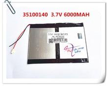 Li-ion para Tablet o Envio Gratuito de 3.7 V 6000 Mah Bateria de Iões Lítio Polímero PC 9.7 Polegada 10.1 Speaker 35100140