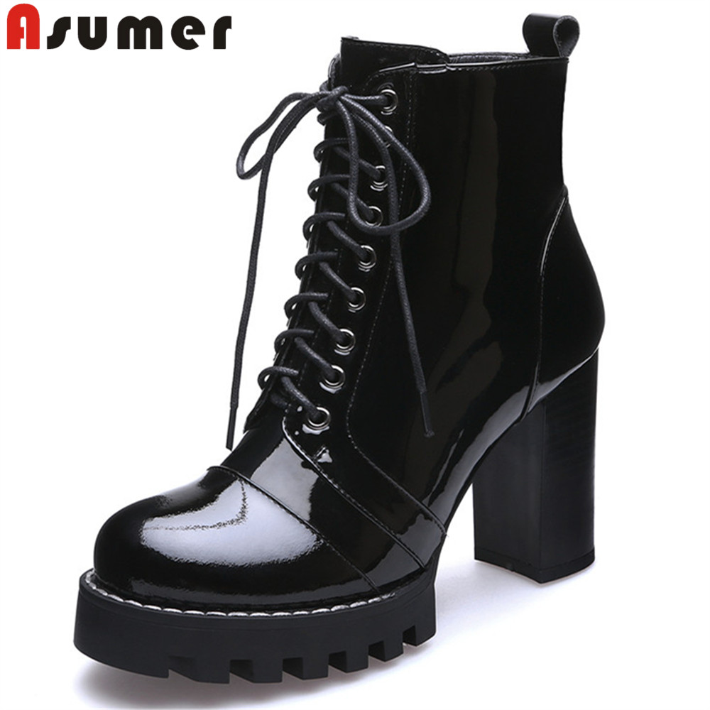 ASUMER Black fashion spring autumn shoes woman round toe lace up platform thick women high heel genuine leather ankle boots
