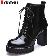ASUMER Black fashion spring autumn shoes woman round toe lace up platform thick women high heel genuine leather ankle boots(China)