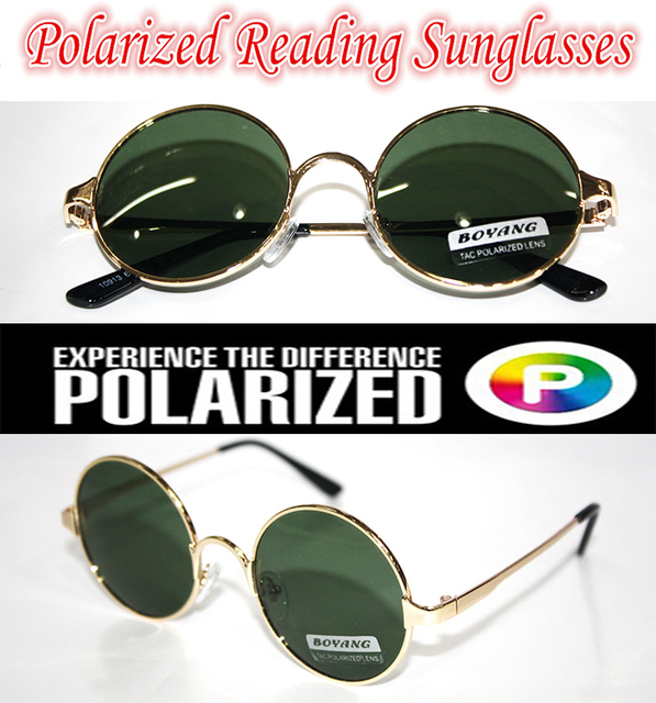 !!!Polarized reading sunglasses!!! Round  vintage  gold  Ozzy style POLARIZED SUNGLASSES +1.0 +1.5 +2.0 +2.5 +3.0 +3.5 +4.0