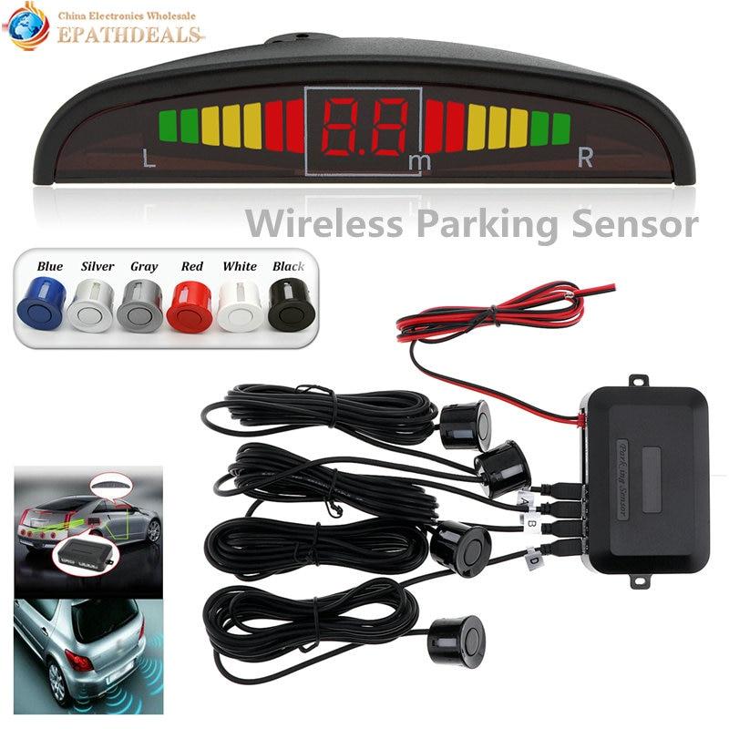 imágenes para Wireless Auto Parktronic LED Sistema de Sensor de Aparcamiento Inversa de Copia de seguridad Monitor de Detector de Radar con 4 Sensores de Sonido Zumbador