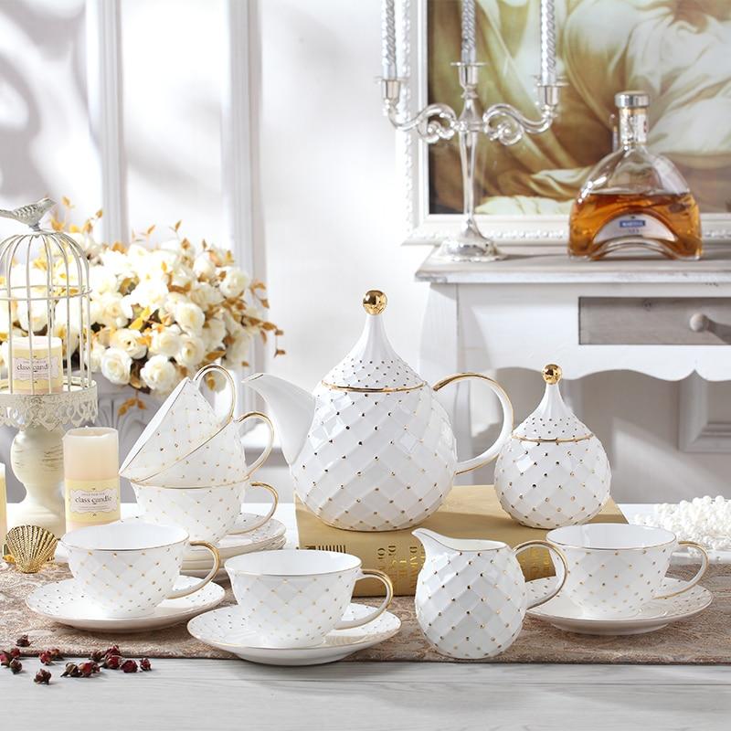 15 pcs  fashion classic bone china Coffee Tea Set royal ceramic gift box set 1 pot 1 creamer 1 sugar pot 6 cups saucers