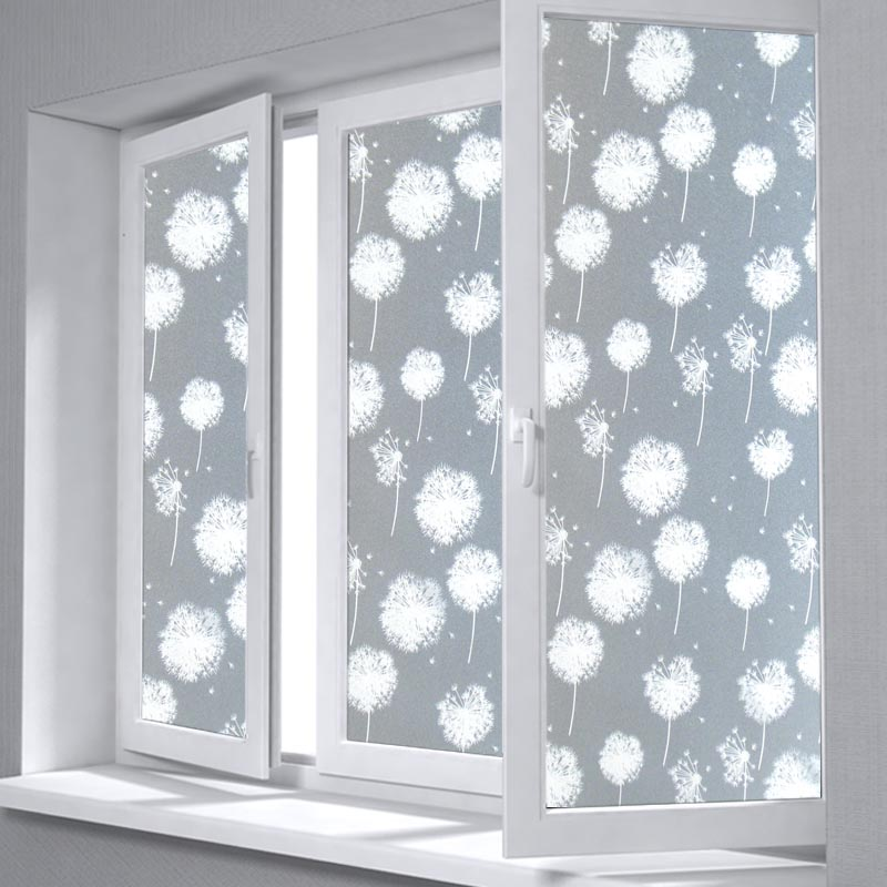 fancy fix 55cm width dandelion frosted glass window film privacy for bathroom static cling. Black Bedroom Furniture Sets. Home Design Ideas