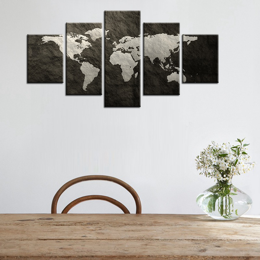 World Map Decorations Global Map Grey Pictures For Home Decorations Painting Canvas Wall