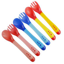Baby temperature sensing spoon and fork, safe silicone feeding tableware baby feeding utensils feeding spoon tableware(China)