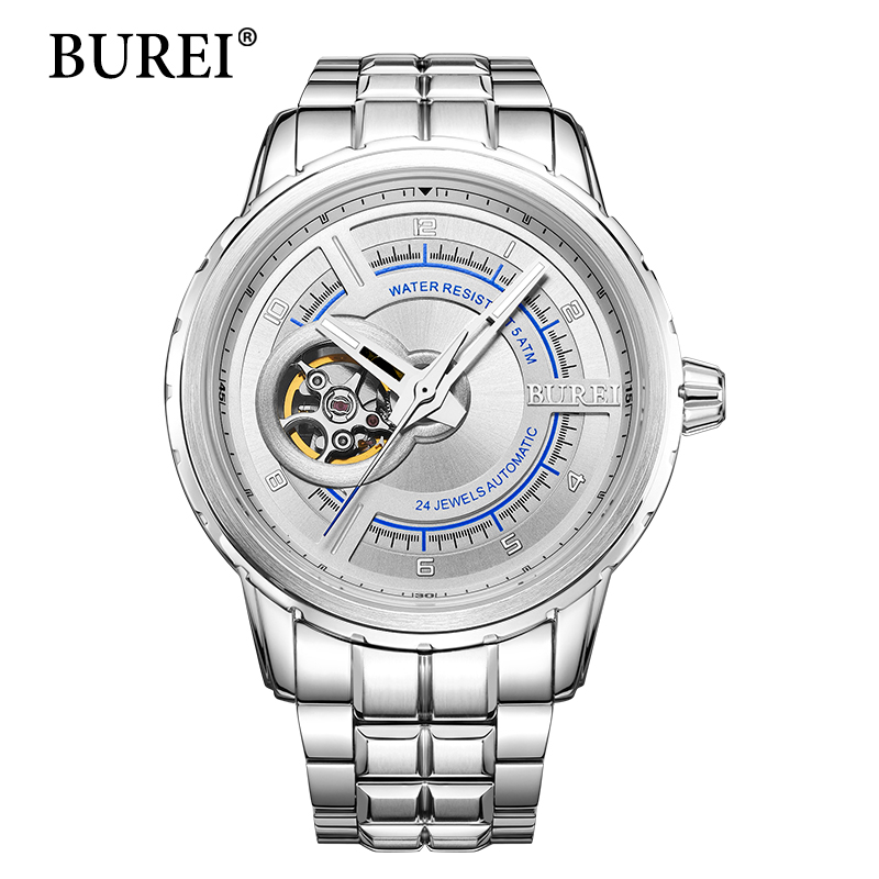 Men Mechanical Watches New BUREI Top Luxury Brand Male Business Clock Calendar Steel Band Waterproof Automatic Watch Hot Sale burei men watch top brand luxury automatic male clock steel band day and date display white lens mechanical watches hot sale