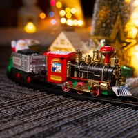 Classic Christmas Train Battery Operated Railway Rail Train Electric Toys Railway Car with Sound&Light Rail Car Gift For Kid