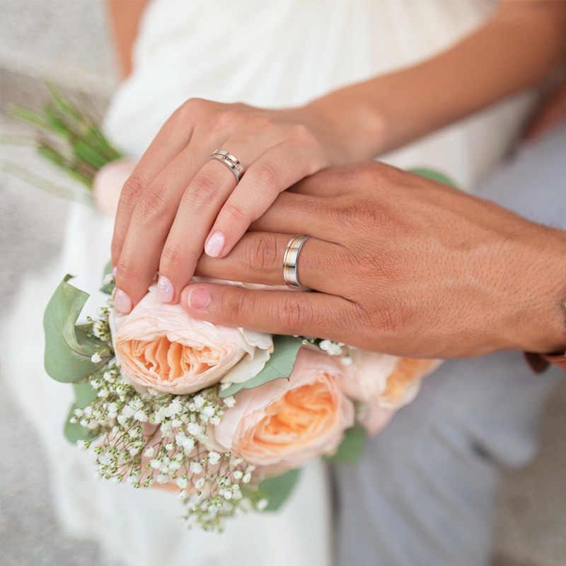 Vnox Personalize элегантные обручальные кольца для женщин и мужчин CZ камни из нержавеющей стали пара обещаний обручальные свадебные украшения
