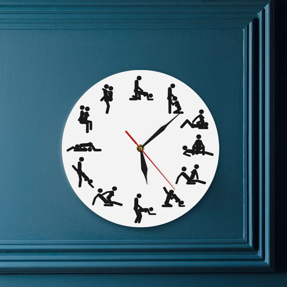 US $11.99 20% OFF|Sexual Positions Wall Clock Adult Sex Game 24 Hours Sex  Dirty Smut Humor Wall Art Decorative Living Room Clock Bachelorette Gift-in  ...
