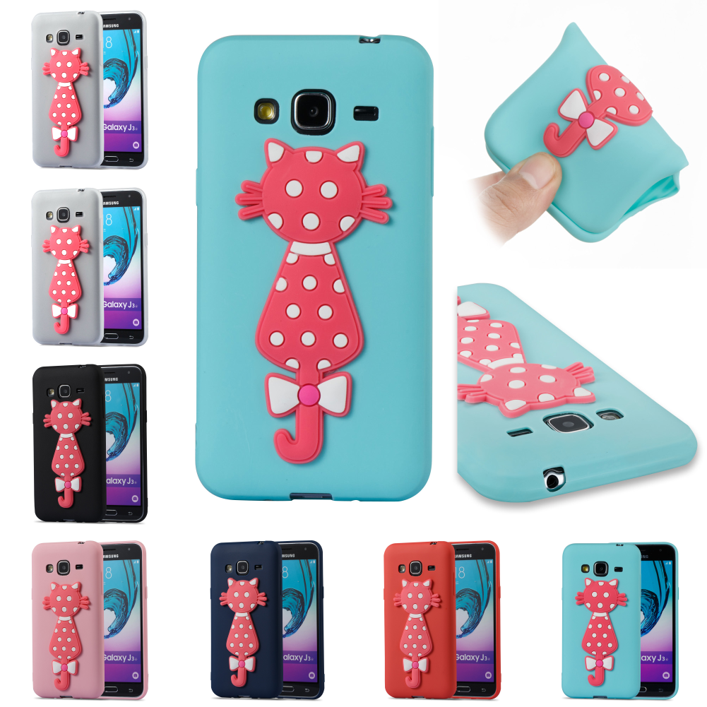 SiliconeCute Cartoon 3D Cat TPU Kryty Shell Cubierta Bag Cover For Galaxy Galax Samsug Sumsung J3 2016j 310