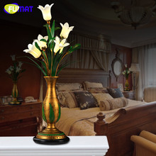 FUMAT Glass Table Lamp Vintage Pastoral Lamp Flower Shade For Living Room Bedroom Bedside Art Deco Glass G4 LED Table Light(China)