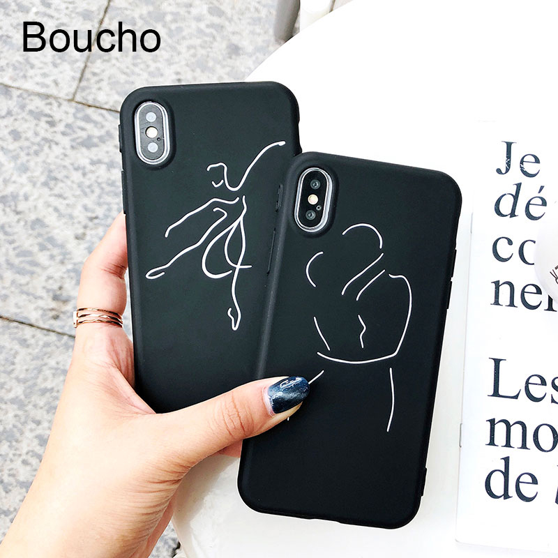 Boucho <font><b>Cases</b></font> For <font><b>iphone</b></font> X 8plus 7plus Soft Silicone Phone <font><b>Case</b></font> For <font><b>iphone</b></font> 6 6S 7 <font><b>8</b></font> <font><b>Plus</b></font> Fashion <font><b>Ballet</b></font> Painting Back Cover Capa image