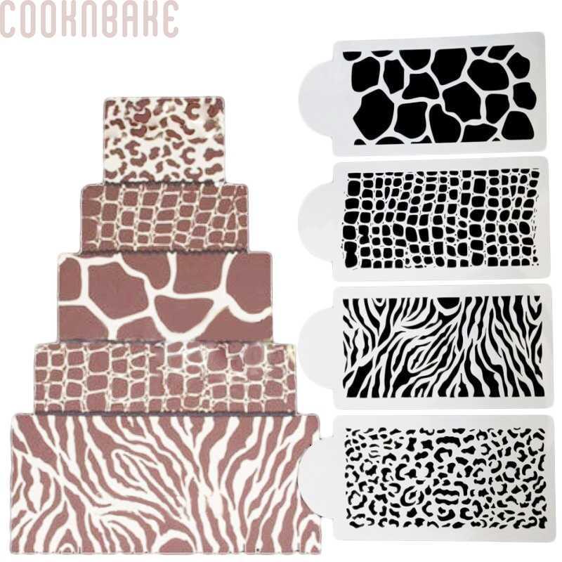 Cool Cooknbake 4Pc Birthday Cake Decorating Stencil Zebras And Leopard Funny Birthday Cards Online Elaedamsfinfo