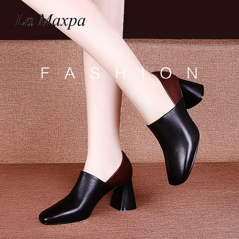 Pequeño 35 2 Zapatos Mujeres Bombas Patente Cuero Alto Black 42 Simples Colores Grande 34 brown Tacón Sexy Tacones Las 41 Toe De Tamaño Gruesos Square qqHrTwftn
