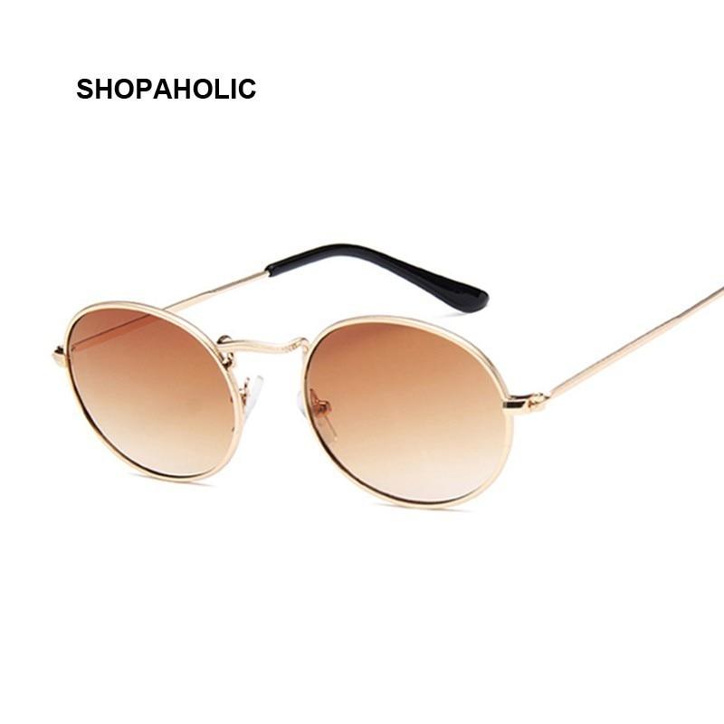 Retro Round Pink Sunglasses Women Brand Designer Sun Glasses For Women Alloy Mirror Female Oculos De Sol Brown