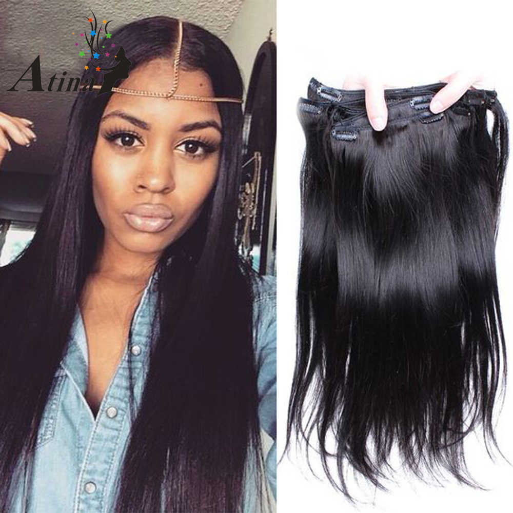 Straight Clip In Human Hair Extension Remy Brazilian Virgin Hair Clip Ins Human Extension 120G Full Set Natural Color 7Pcs Atina
