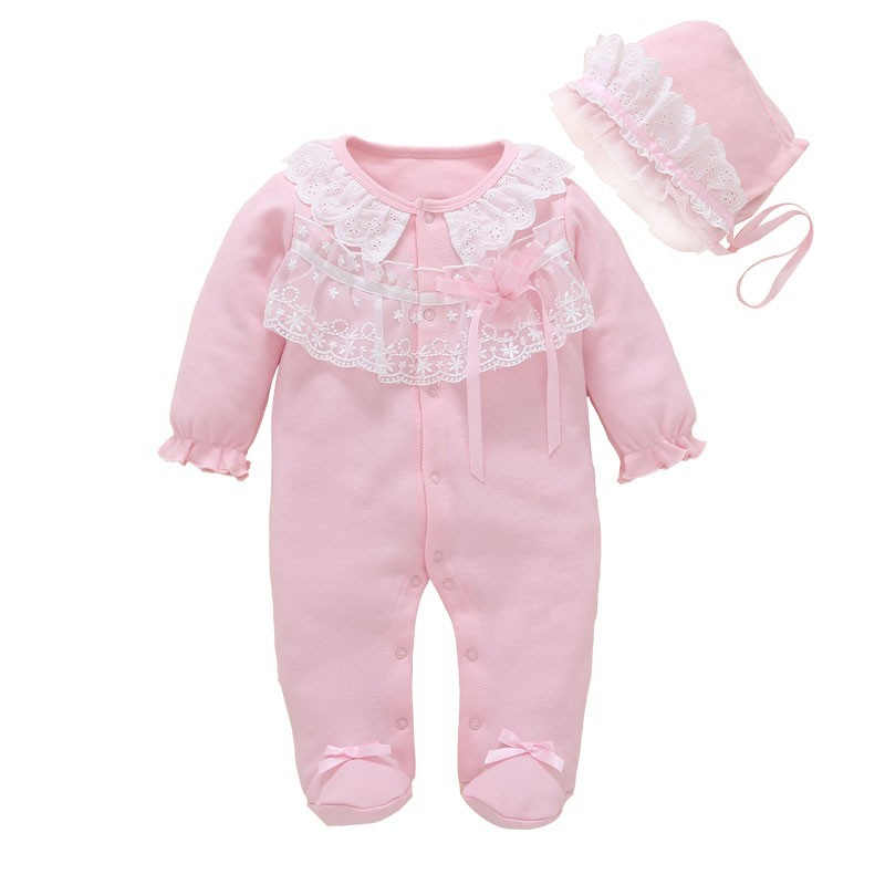 Baby Girl Clothing Newborn Footies Lace Cotton Long Sleeve Jumpsuit+Hat 2pcs Christening Clothes Set Christmas Gift For Baby New