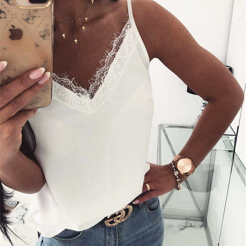 Women's Summer Sleeveless Vest Tank Tops Blouse Tee Satin Silk Backless V-Neck Lace Solid Casual Shirts Cami Tops